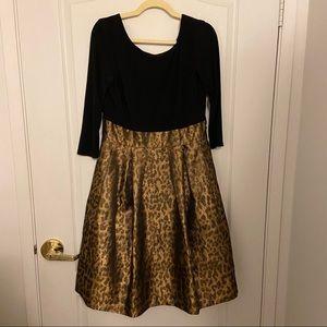 Eliza J black and metallic animal print skirt